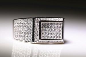 새로운 Hiphip 화이트 골드 채워진 반지 세트 Cubic 지르콘 다이아몬드 보석 Engagement Bague bijoux 남자를위한 웨딩 액세서리