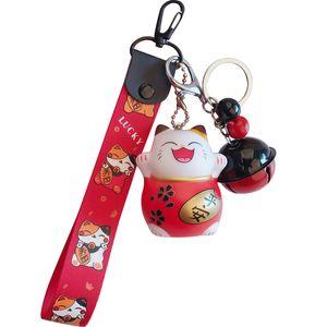 Cadeia Lucky Cat Nova dos desenhos animados Keychain Mulheres Cat Car Key encanto Anel Bag Pingente Chave presente Acessórios 3074