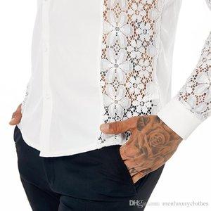 Spring 19ss Mens Lace Shirts Summer Casual Shirt Turn Down Collar Long Sleeved Tops Tees