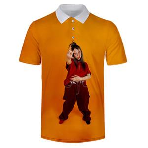 Otoño del resorte de moda para hombre Polo Polo Homme Carácter Imprimir Casual Male sueltos en cortocircuito la ropa