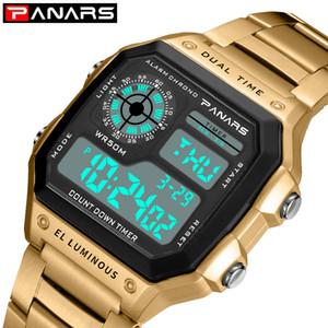 Großhandel Sport Herren Business-Platz Retro Uhren Wasserdicht Count Down Timer Digital-Stoppuhr Uhr g-Uhr-Shock Gold-