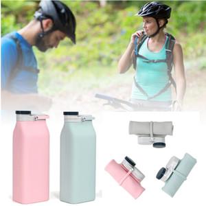 Силиконовые Складная Бутылка молока с крышкой 600 мл Портативный питьевой воды бутылки OEM складная большой емкости Силиконовые бутылки воды