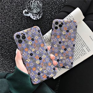 Purple Base Small Printing Floral Diamond Pattern Mobile Phone Case Cover for iphone 11 pro max 7 8 plus x xr