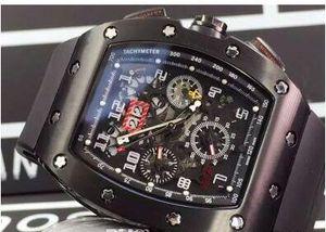Mecânica famosa marca suíça preta PVD inoxidável Automatic relógios de luxo Felipe Massa Flyback Rubber Data Mens Negócios Relógios de pulso Men