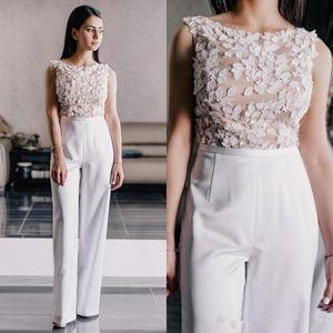 3D Floral Prom Macacão Vestidos de Desgaste 2020 Jóia Pescoço Mancha de Renda Chiffon Mulheres Ocasião Ocasional Noite Calça Terno Vestido