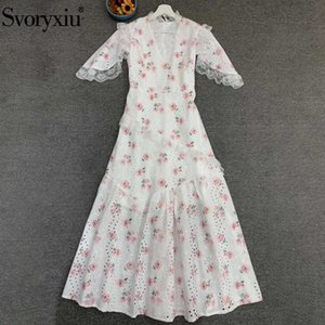 Svoryxiu Fashion Designer Women Summer Floral Print V-Neck Sweet Holiday Dress Ladies Lace Hollow Out Embroidery Long Dresses