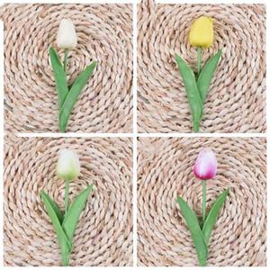Шелковые цветы PU Artificial тюльпаны Real касания Цветы мини Тюльпан Свадебный букет Свадебный Декоративные украшения Домашний декор 12 цветов LXL981-1