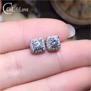 CoLife Jewelry Dazzling 925 Silver Moissanite Stud Pendientes para uso diario 3mm VVS Grade Moissanite Silver Earrings Moissanite
