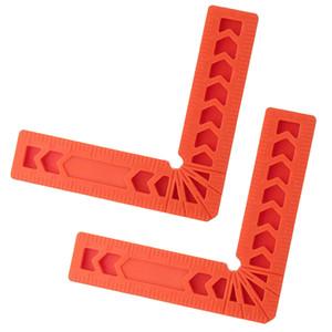 2x 90 Deg L Cuadrado ángulo recto abrazaderas de sujeción en esquina regla de plástico 3 ''