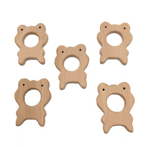 Wood Frog Teether Food Materials Organic Chew Necklace Silicone Teething Necklace Baby Safety Wooden Play Gym Handmade Toy Silicon Hexagon