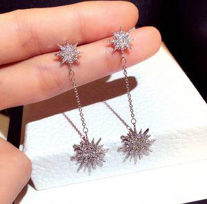 Hot new fashion designer de luxo super brilhante diamante zircão strass sol flor lustre brincos para mulheres meninas