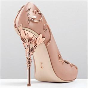 Düğün Akşam Parti Balo Ayakkabı için Ralph Russo Güzel Pembe Altın rahat Designer Düğün Gelin Ayakkabıları İpek eden Yüksek Topuklar Ayakkabı