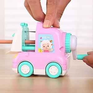 Mini Cartoon Car Shape Hand-held Mechanical Wooden Pencil Sharpener Student Kids Gift Stationery School K1374 D