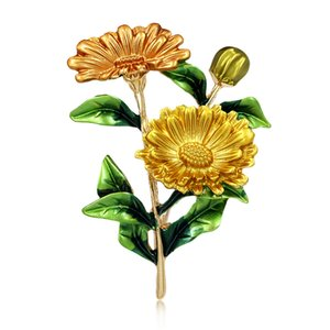 baiduqiandu 3 Color Enamel Chrysanthemum Daisy Flower Shape Brooch Pins for Women Girls DIY Banquet Party Pins Fashion Jewelry