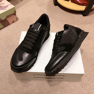 2019 hommes de vachette cuir casual chaussures de sport camo chaussures noires de mode marque de marque pour hommes taille 38-44