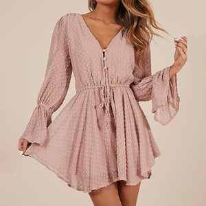 Chiffon Plus Size Sashes Long Flare Sleeve Women's Playsuits Solid Dot Sexy Women Loose Short Jumpsuits 2020 Summer Rompers