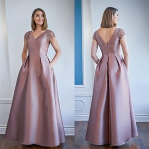 Elegant Satin A-line Mother Of The Bride Dresses V-neck Floor Length Evening Gowns Appliqued Beaded Mother Wedding Guest Dress