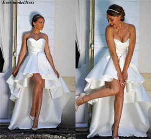 Hi-Low Beach Wedding Dresses 2021 Sweetheart Pleats Draped Lace Up Back Simple Satin Bridal Gowns Bride Dress Vestido De Noiva