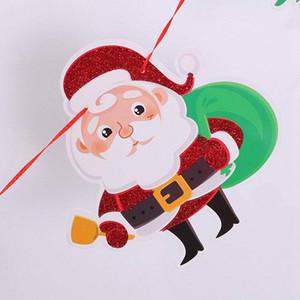 Bandeiras papercard Xmas Decoração de Natal Papai Noel Bunting Bandeiras para Casa Loja Sala de Mercados
