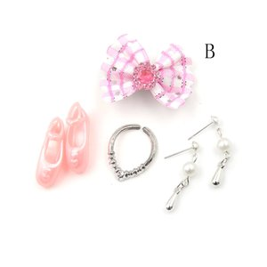 1Set of Fashion Jewelry Necklace Earring Bowknot For for Doll Party Accessories Kids Gift Accessories