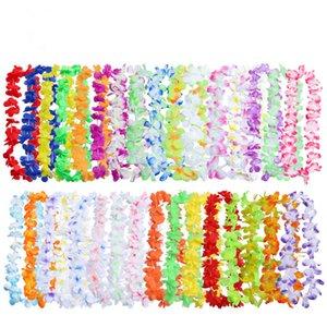 50pcs Atacado Beach Party Hula Leis festivo do partido Hawaiian Garland Artificial Silk Flores Colar Coroas Partido flores decorativas