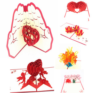 1pcs Laser Cut 3D Love Pop UP Cards Greeting with Envelope Valentine's Day Wedding Invitation Postcard Anniversary Gifts
