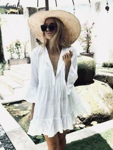 2020 New Women White Long Sleeve Sweet Holiday Ruffles Bikini Cover Up Swimwear Bathing Summer Beach Loose Blouse Shirt Dress