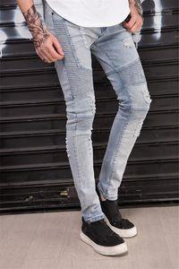 Jean Mens Fori Designer jeans stretch Men coreano Skinny Drape pantaloni della matita di moda Homme casuali sottili