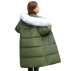 Big wool collar cotton clothing winter big size women's down cotton clothing cotton dress woman