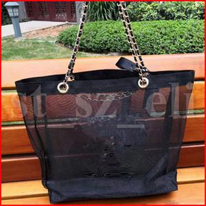 Famoso Saco de Maquiagem net preto fio de compras transparente Saco cosmético sacos de ombro cadeia cosméticos organizador saco de viagem de praia
