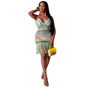 Rainbow Crochet Tassels Backless Sexy Summer Dress Beach Cover Up Party Short Dress Women Club Outfits
