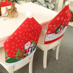 6Pcs Christmas Ornaments Chair Cover Dinner Dining Table Santa Claus Snowflake Snowman Red Cap Ornament Chair Back Covers Decor