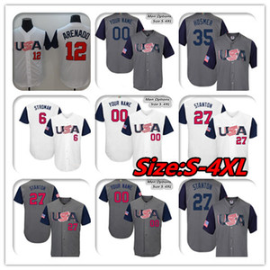 Custom 2017 World Baseball Team США WBC Классический Джерси Маркус Строман Нолан Аренадо Джанкарло Стэнтон Эрик Хосмер 7 Кристиан Йелич мужская