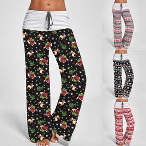 Natal calças largas nas pernas S-3XL Comfy estiramento Xmas Mulheres calças compridas impresso cordão Patchwork cintura alta Yoga Calças OOA7321-11
