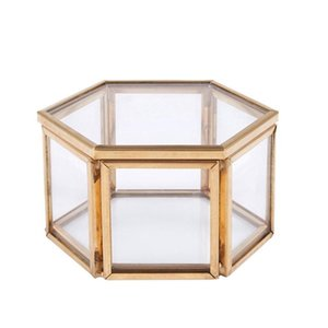 Geometric Clear Glass Jewelry Box Jewelry Organizer Holder Tabletop Succulent Plants Container Home Organizer Jewelry Storage