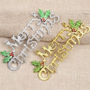 15cm Joyeux Noël Hanging ornement Lettres en plastique Carte d'or Sliver Couleur Arbre de Noël Pendentif pour l'intérieur Décorations exquis 0 55cj E1