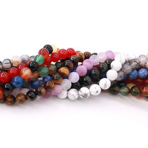 Venta al por mayor 140 unids / lote perlas semipreciosas ronda patrón espaciador de perlas sueltas para hacer joyas DIY collar pulsera 8 MM