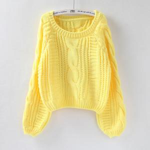 OLOME 2019 para mujer de ropa femenina Tire Jerseys Nueva suéter amarillo Puentes del color del caramelo de Harajuku elegante suéter corto Twisted Tire
