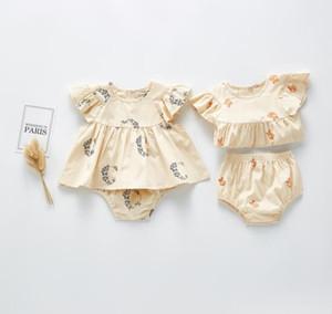 Babykleidung stellt 100% Cotton Ruffles Short Sleeve Fox oder Blumen-Mädchens Satz kausalen Sommermädchen Satz T-Shirt + Kurz drucken