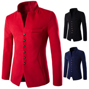 2019 3 Color New Winter Fashion Formal Solid Mandarin Collar Wool Men's Coats Single breasted Slim fit Casual Thick Mens Blazers