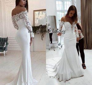 Mermaid Wedding Dresses Sweep Train Satin Applique Lace Crew Sheer Neck Illusion Long Sleeve Plus Size Wedding Bridal Gowns Vestido de novia