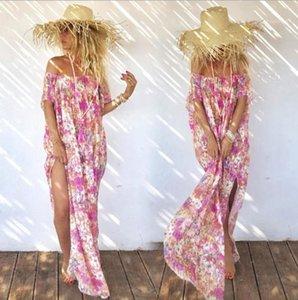 Женская Split Платья Цветочные Отпечатано женщин богемского платья Модное конструктора без бретелек Beach Vacation платья Summer Casual