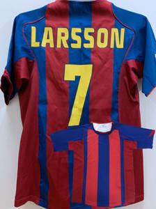 Retro clásico 2004 2005 LARSSON GERARD RONALDINHO PUYOL XAVI MESSI manga larga camisetas de fútbol camiseta de fútbol retro