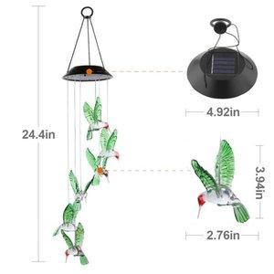 YENİ 2adet Ev Partisi Gece Bahçe Dekorasyon renkli su geçirmez Altı Hummingbird Rüzgar Chimes değiştirme, Güneş Hummingbird Rüzgar Chime LED