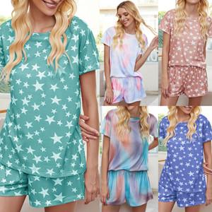 Womens 2 два кусок нарядов наборов Tie-Dye Gradient Star Пижама потерять короткий рукав футболки шорты костюмов Homewear одежды летнюю одежду