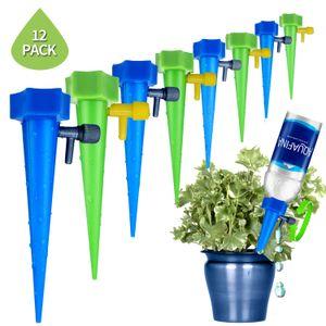 식물 식습관 자동 급수 장치, 방류 공장 급수 스파이크 자동 드립 관개 물 스테이크 시스템 (12 개 팩)