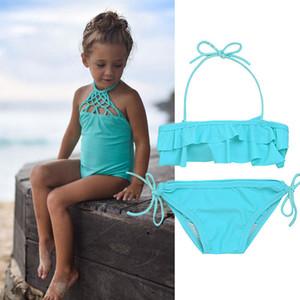 Yürüyor Bebek Kız katı Bandaj Halter örgü Tankini Bikini Set Ilmek Mayo Mayo Mayo Beachwear Yaz SwimWear