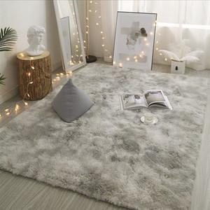 Estilo Nordic FBC19011003 Modern tapete cinza de pelúcia macia Tapete para sala de estar Laço tingimento antiderrapante Floor Mats Tapete Tapetes
