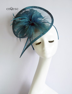 2019 Teal bue sinamay fascinator Headpiece Kentucky Derby wedding races bridal shower mother of the bride w feather flower
