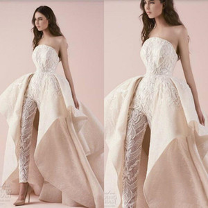 Strapless Bride Jumpsuit With Detachable Train 2020 Full Lace Embroidery Applique Ruffles Puffy Princess Arabic Wedding Dress Pant Suit Gown